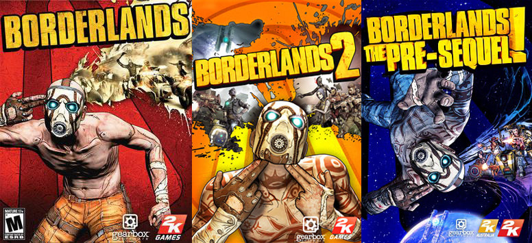 Borderlands, Borderlands 2, Borderlands The Pre-Sequel Cover Art